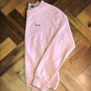 H&M crewneck pink LOVE sweater